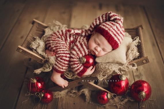 Knit sleep hat holiday set newborn knit set stripe onesie newborn prop stripe hat holiday prop set christmas set stripes. knot hat