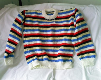 Knitted striped aran jumper 36""