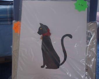 Painted black cat