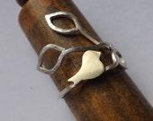Brass bird on silver branch ring (multi size)