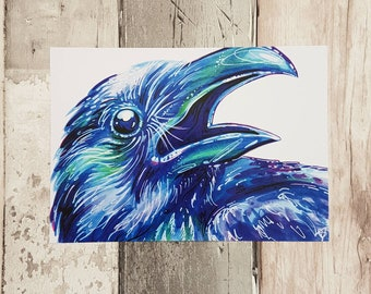 Crow, Bird Art, Gothic Print, Blue