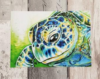 Turtle, Ocean Art, Reptile Print, Green, Childrens Decor