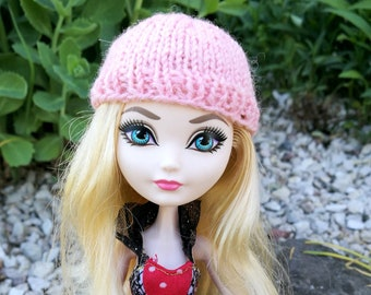 Pink doll beanie for Ever After High type of dolls, doll clothes