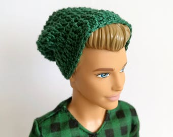 Green slouchy beanie for Ken doll, doll clothes