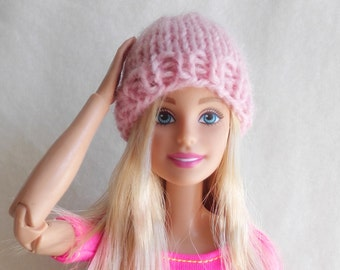 Pink Barbie hat, knitted Barbie doll beanie