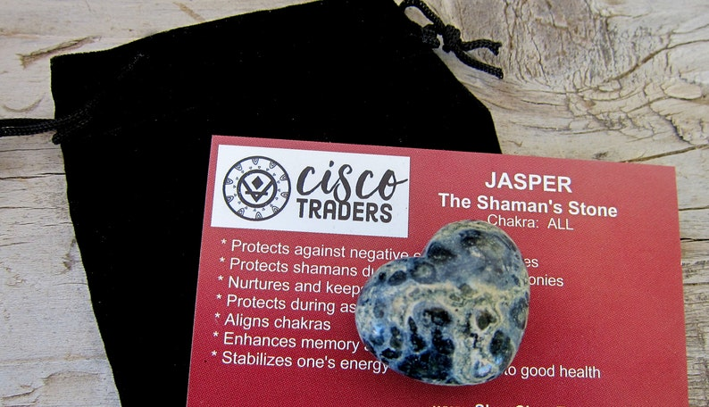 Protects Against Temptation and Negativity Kambaba Jasper Puff Heart 30mm with Black Drawstring Velour Pouch