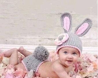 Newborn Cute Little Rabbit Crochet Photography Prop Outfit