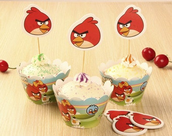 24 pc/set Angry Birds Cupcake Wrappers and Toppers/Party Decoration