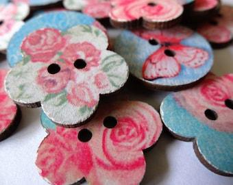 Pink Flower/ Butterfly Wood Buttons 2 Holes Random Color  (12 pcs) Set