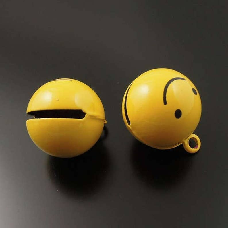 Bell Charms 2 pcs  EMOJI SMILE FACE Pendants Metal Charms-Jewelry Supplies