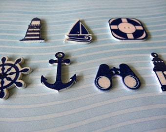 Set (12 pcs)  Navy Wooden Buttons ,Lighthouse, sailboat, anchor.