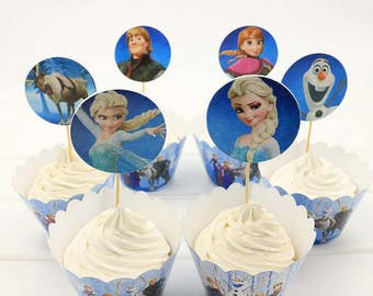 24 pcs/set Frozen Cupcakes Wrappers and Toppers/ Birthday Party Decorations