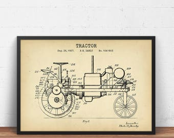 Tractor blueprint etsy tractor 1927 patent print digital download tractor design blueprint farming poster ranch malvernweather