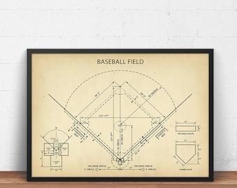 Blueprint etsy baseball field blueprint art digital download baseball poster printable baseball coach gifts boys room decor sports wall art field art malvernweather Gallery