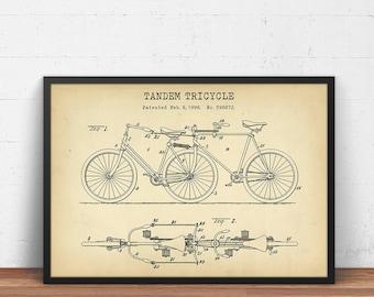 Blueprint art etsy tandem tricycle patent print tandem bike poster printable digital download bicycle print malvernweather Image collections