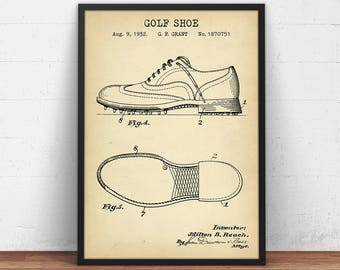Golf patent prints digital download golf ball blueprint art golf shoes 1932 patent print digital download man cave wall art golfer gifts golf blueprint art golf clubhouse decor poster printable malvernweather