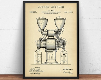 Espresso coffee maker patent print digital download blueprint etsy coffee grinder patent print digital download coffee poster printable kitchen wall art vintage coffee grinder blueprint art coffee lover malvernweather Gallery