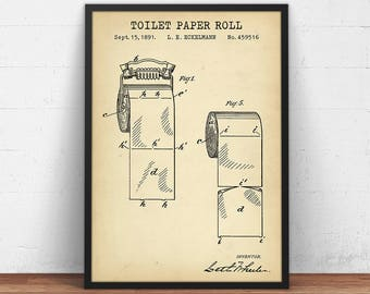 Blueprint art etsy bathroom prints toilet paper patent printable restroom decor lavatory loo poster powder room wall art digital download blueprint art malvernweather Gallery
