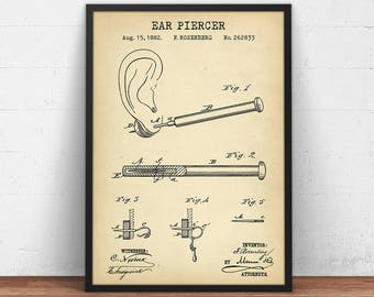 Ear Piercer Ring 1894 Patent Print Digital Download Body Etsy