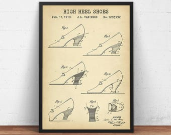 High Heel Shoes 1919 Patent Print, Digital Download, High Heeled Shoes Blueprint, High Heels Poster, Vintage Fashion Decor, Gift For Her