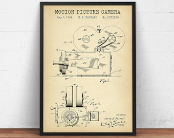 Camera blueprint etsy motion picture camera patent prints digital download vintage camera blueprint movie room decor home theater wall art director actor gifts malvernweather Choice Image