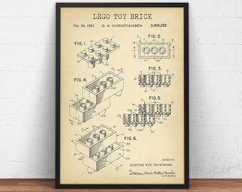 Lego printable blueprint toy brick patent lego toys building lego toy brick patent printable lego poster kids room wall art lego toys malvernweather Choice Image