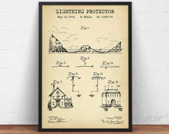Electrical blueprint etsy tesla patent lightning protector blueprint art electrical schematics art engineer gifts dorm wall art science posters instant download malvernweather Images