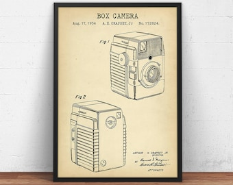 Camera blueprint etsy box camera patent art 1954 camera blueprint art digital download photographer gifts vintage camera poster decor chalkboard wall art malvernweather Choice Image