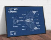 Star Trek Gift, Klingon Battle Fleet k 39 teremny Blueprint, Digital Download, Spacecraft Design Schematic, Science Fiction Movie Poster Print