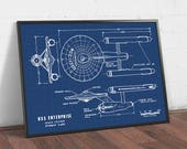 USS Enterprise Starfleet Poster, Digital Download, Star Trek Print, Starship Blueprints Art, Spaceship Printable, Star Trek Wall Art Gifts