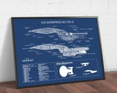 USS Enterprise NCC-1701-D Blueprint, Star Trek Prints, Star Fleet Poster Printable, Star Ship Decor, Spaceship Wall Art, Star Trek Fan Gifts