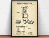 Microphone Patent Print, Ribbon Microphone Blueprint Art, Singing, Musician Gifts, Recording Studio, Music Bar Wall Decor, Singer, Speaker