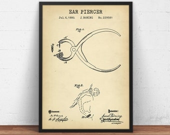 Official 1882 Ear Piercing US Patent Art Print Vintage Jewelry Tattoo 202