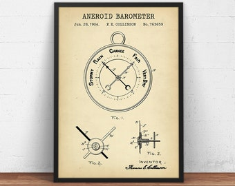Vintage Antique Original 185 Official Weather Barometer 1884 Patent Art Print