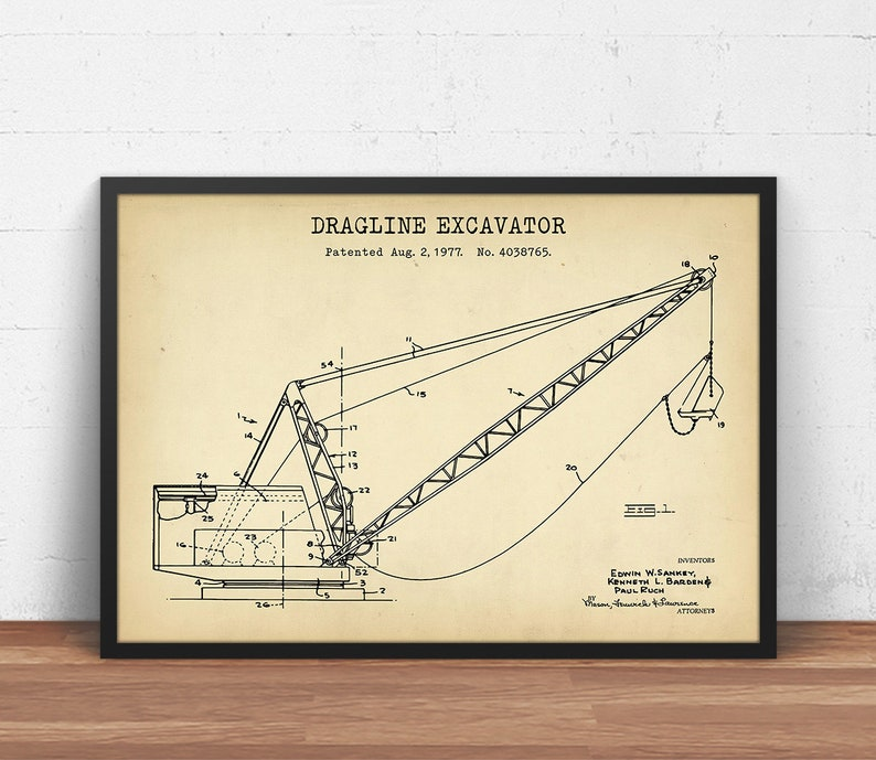 Dragline Excavator Patent Print, Heavy Equipment Blueprint, Surface Mining,  Construction Wall Art, Civil Engineering Decor, Miner Gifts