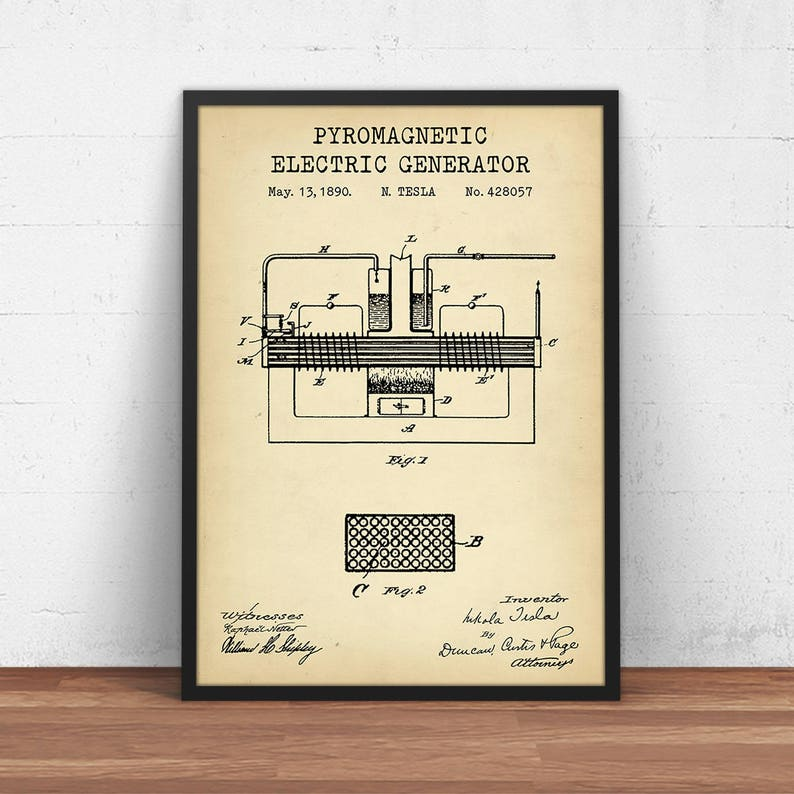 Pyromagnetic Electric Motor Patent Print, Nikola Tesla Printables, Science  Decor, Physics Poster, Electrical Engineer Gifts, Dorm Wall Art
