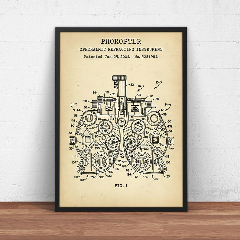 Phoropter Patent Print, Digital Download Blueprint Art, Optometry Wall Art,  Eye Clinic Decor, Poster Printable, Eye Docter, Optometrist Gift
