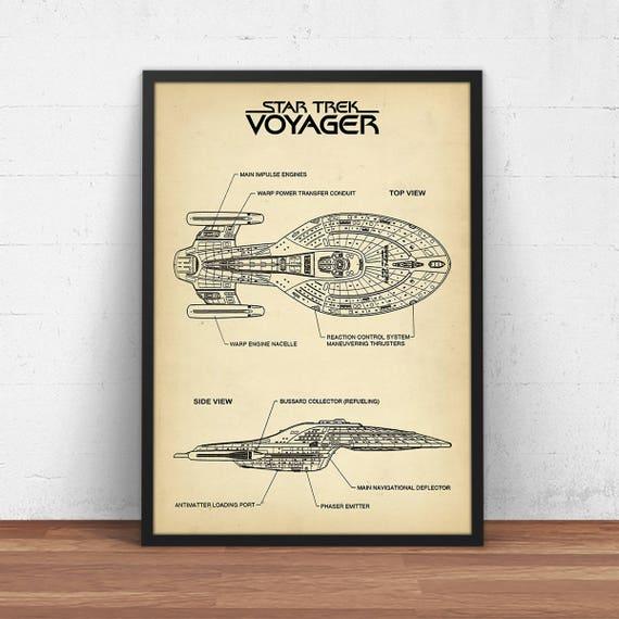 Stern Sie-Trek Schaltpläne Voyager Schiff Poster druckbare | Etsy