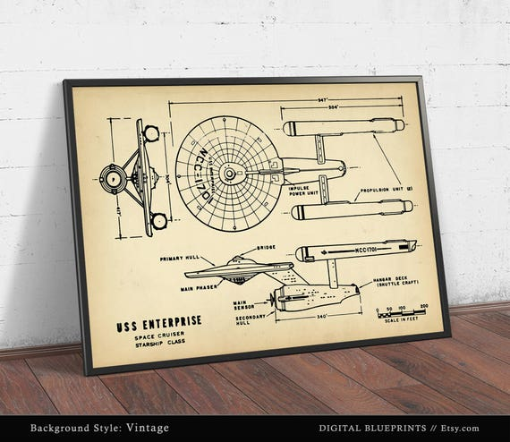 A2 A4 sizes A3 A1 Star Trek Enterprise Blueprints Poster