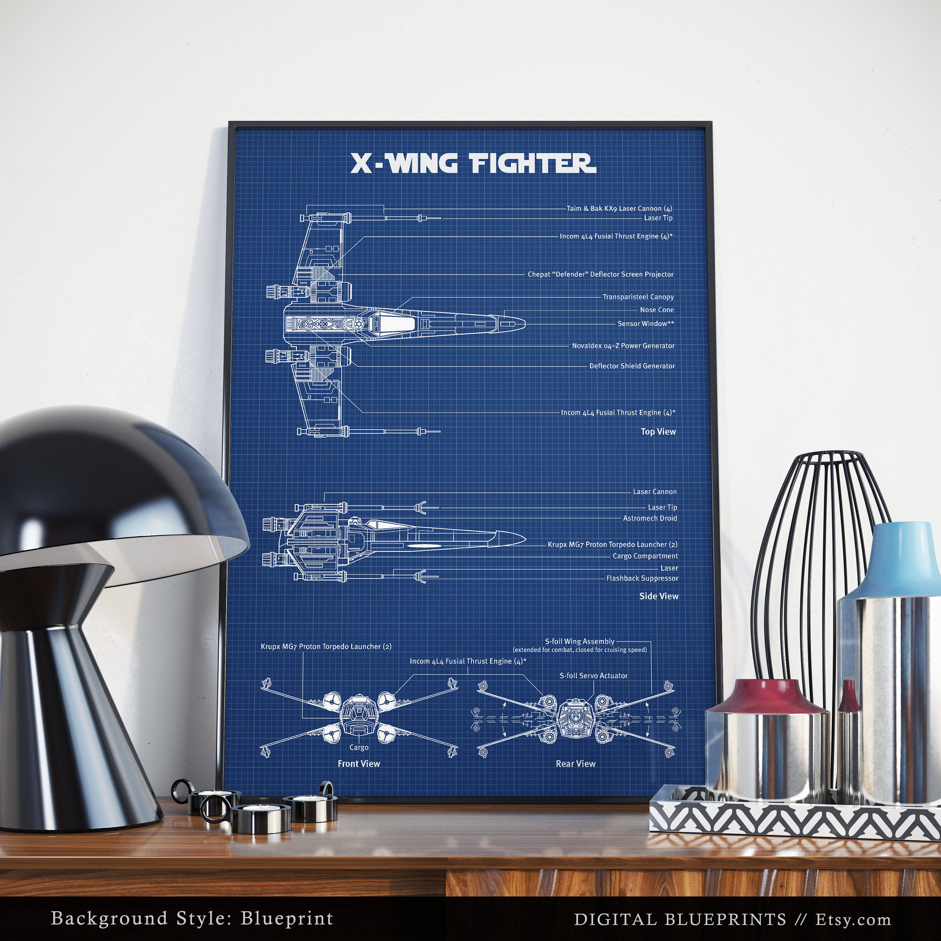 X wing fighter schematic diagram digital download blueprint ampliar malvernweather Image collections