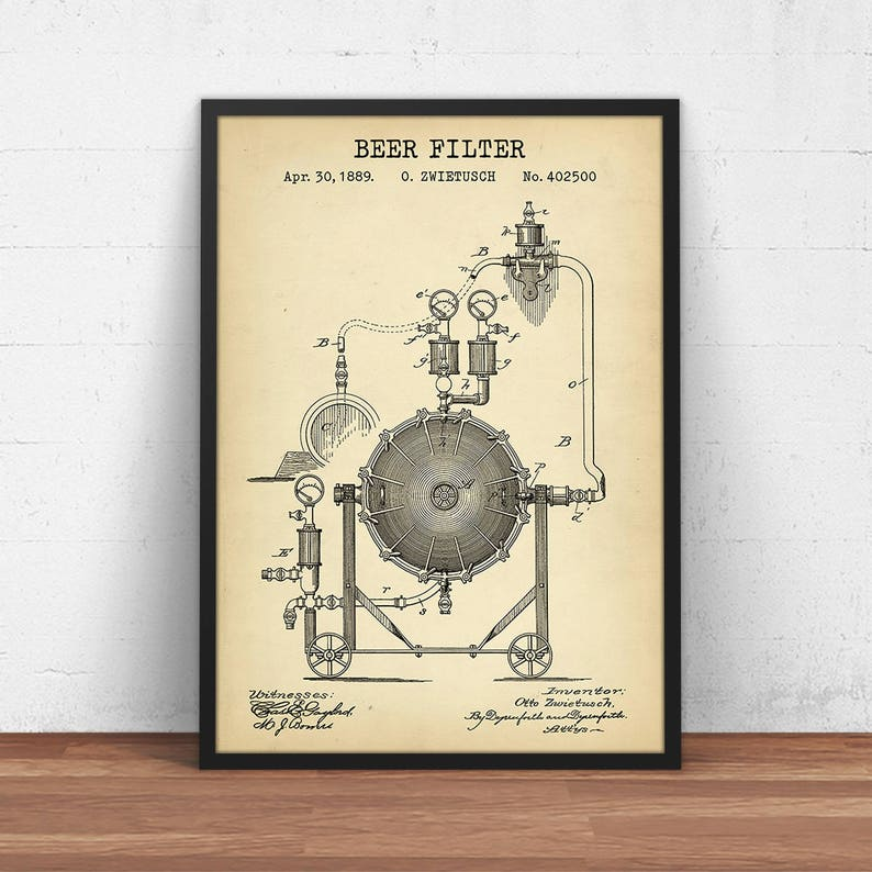 Brewery Decor Beer Gifts Beer Filter Blueprint Art Instant image 0