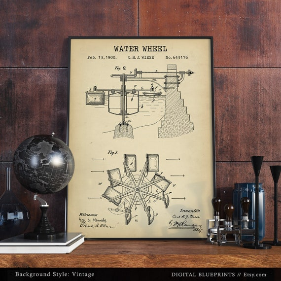 Water Wheel Patent Print Digital Download Waterwheel Etsy