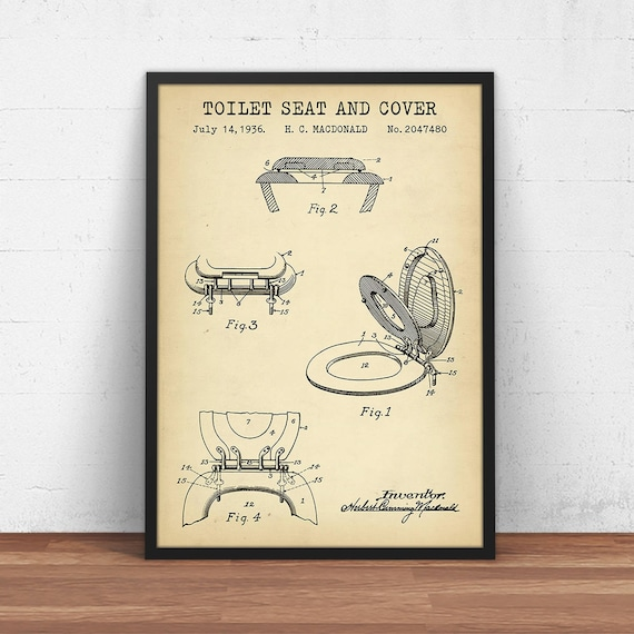 Bathroom Prints Toilet Seat & Cover Patent Print Digital