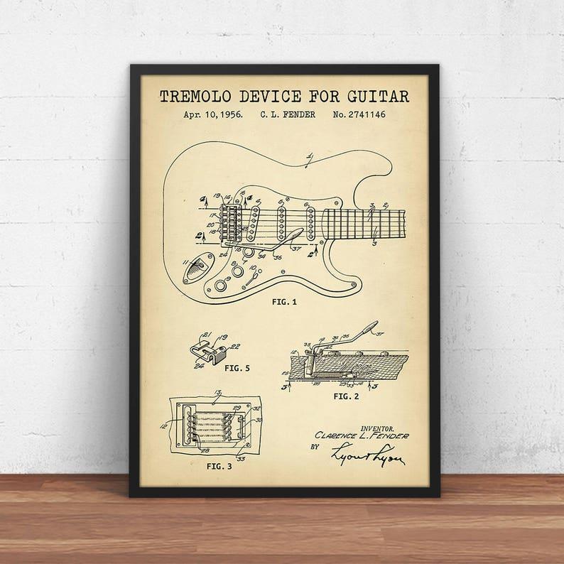 ea0879e42c2ee Impression brevet classique Fender, 1950 ' s Stratocaster et Telecaster  guitare, téléchargement numérique plan Art, musique affiche imprimable, ...