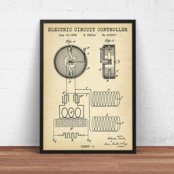 Physics Patent Prints, Electric Circuit Controller - Sheet 2/2, Digital  Download, Circuit Diagram Poster Printable, Dorm Wall Art, Science