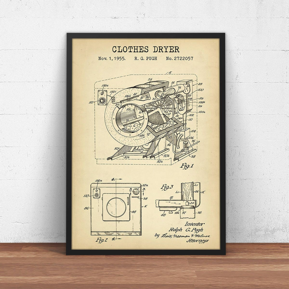 Laundry Wall Art 1950 Clothes Dryer Canvas Patent Print Laundry Room Decor