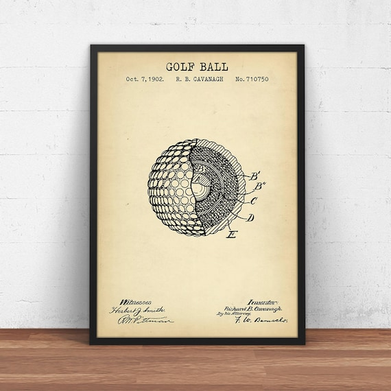 Golf patent prints digital download golf ball blueprint art malvernweather Image collections