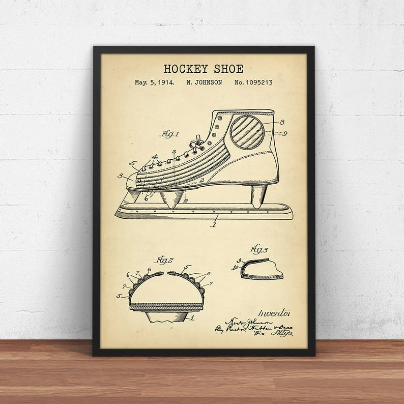 bafbb54df1fa1 Hockey Shoe Patent Print, Digital Download, Skating Shoes Blueprint Art,  Ice Hockey Coach Gifts, Dorm Wall Art, Boys Room Decor NHL Hockey