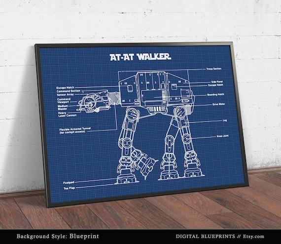 At at walker blueprint art star wars poster printable etsy image 0 malvernweather Gallery