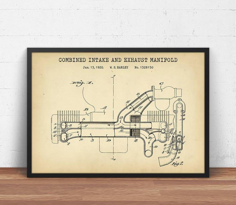 motorcycle wall art, intake \u0026 exhaust manifold patent print, motorcycle poster printable, engine blueprint, man cave decor, motorbike gifts Motorcycle Engine Work